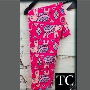 Pants - Plus Sz TC Tribal Pink Elephant Capri Leggings NWT